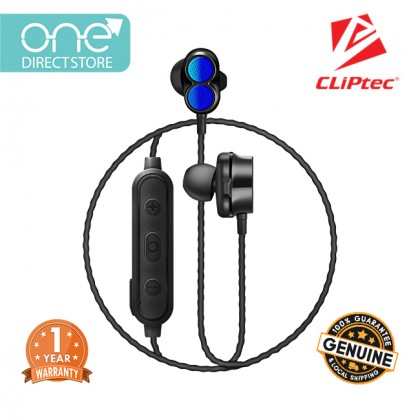 CLiPtec AIR-2SONIC Bluetooth 5.0 Dual Dynamic Drivers Bluetooth Stereo Earphone BBE104