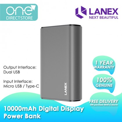 Lanex Mini Size Power Bank 10000mAh with Digital Display (2 Input) - LPB N01