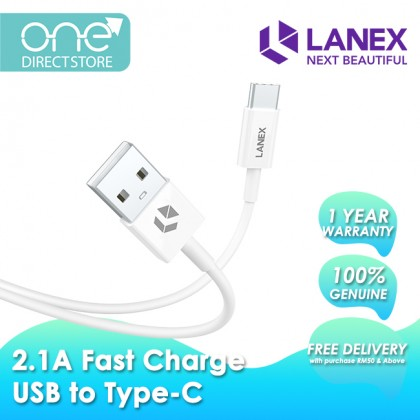Lanex 2.1A Fast Charge USB to Type-C Cable 1M - LTC N03C