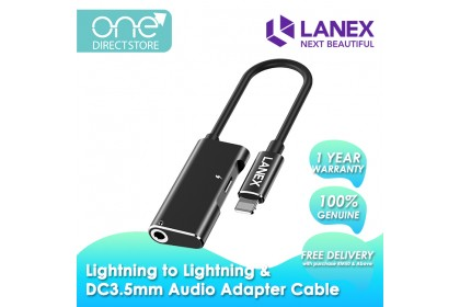 Lanex Lightning to Lightning and DC3.5mm Audio Adapter Cable - LDS A02