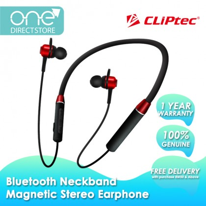 CLiPtec AIR-NECKSPORTS Bluetooth 5.0 Flexible Neckband Magnetic Stereo Earphone BNE261