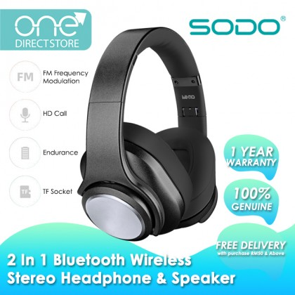 SODO Hi-Fi Sound Bluetooth V5.0 Wireless Stereo Headphone & Twist-Out Speaker (Support FM/TF/NFC/AUX) MH10