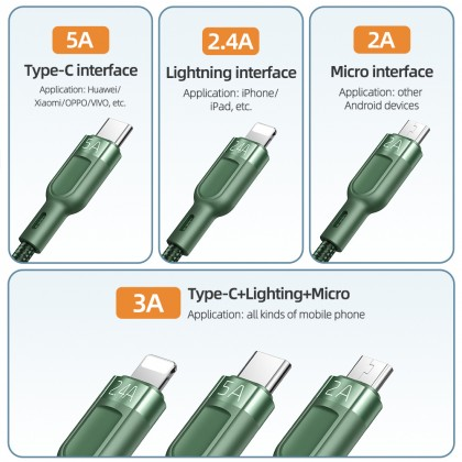 Mcdodo 5A Lightning + Type-C + Micro USB 3 in 1 Cable (QC/AFC/SCP/FCP/VOOC) 1.2M CA879