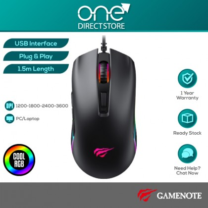 GAMENOTE MS1010 3600DPI RGB Backlit Programmable Gaming Mouse