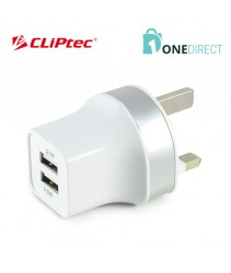 CLiPtec 2.1A Dual USB Port Charger With Cable-GZU396 (White)