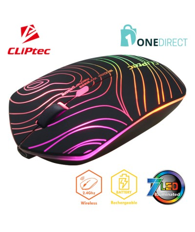 CLiPtec GEOPOLY 2.4Ghz 1600dpi Illuminated Rechargeable Wireless Mouse RZS610