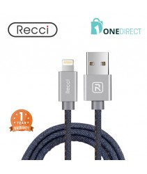 Recci 2.4A USB to Lightning Cable Fast Charging & Data Transfer 1.5M - Jeans