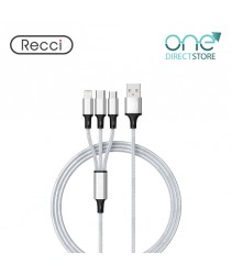 Recci 3 in 1 USB Data Cable 1.2M - Fastwind