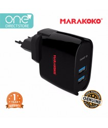 Marakoko 12W Dual Port Universal Travel Charger (2.4A) Include UK & EU Plug - MA9