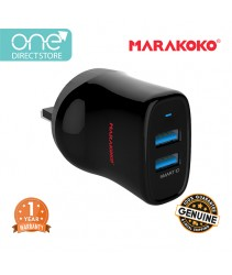 Marakoko 12W Dual Port Smart Wall Charger (2.4A) c/w Lightning Cable - MA12