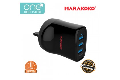 Marakoko 17W 3 Port Smart Wall Charger (3.4A) c/w Lightning Cable - MA13