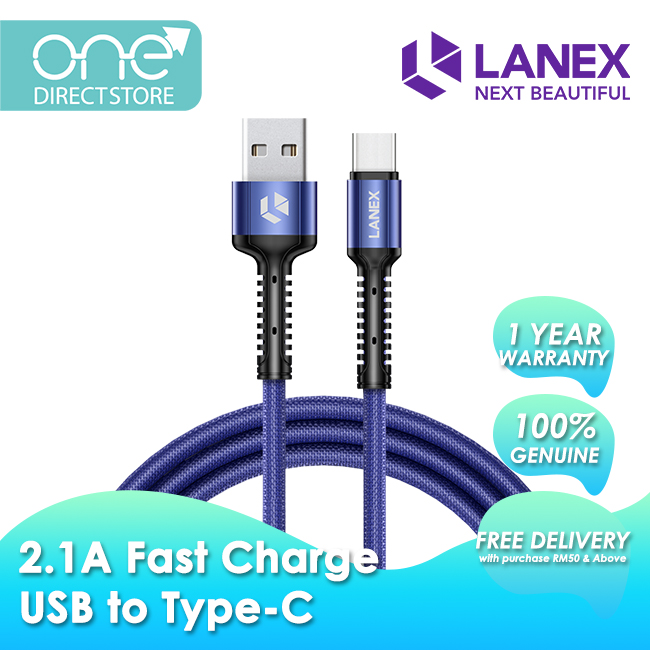 Lanex 2.1A Fast Charge USB to Type-C Braided Cable 2M - LTC N02C