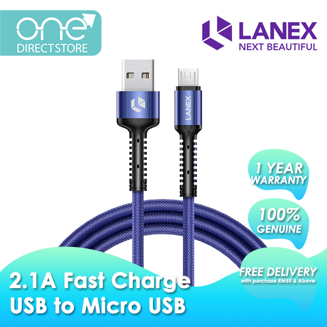 Lanex 2.1A Fast Charge USB to Micro USB Braided Cable 2M - LTC N02M