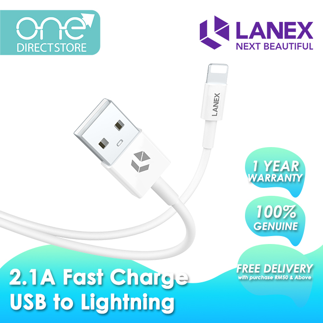 Lanex 2.1A Fast Charge USB to Lightning Cable 1M - LTC N03L