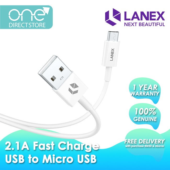 Lanex 2.1A Fast Charge USB to Micro USB Cable 1M - LTC N03M