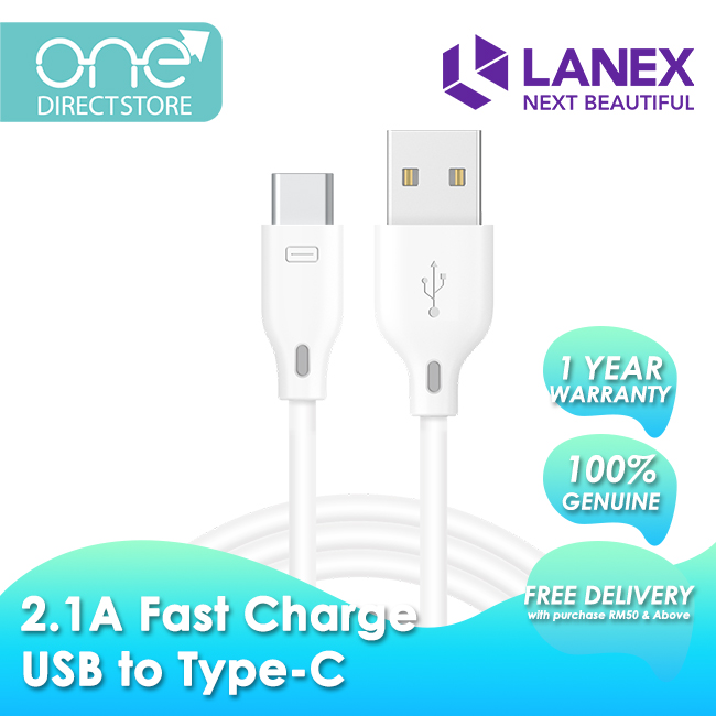 Lanex 2.1A Fast Charge USB to Type-C Cable 2M - LTC N06C