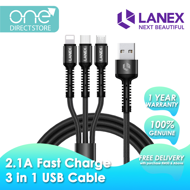 Lanex 2.1A Fast Charge 3 in 1 USB Charging Braided Cable 1.2M - LTC T01