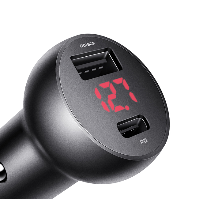 Mcdodo Mushrooms Series PD+30W Type-C+USB Ports Car Charger with Digital Display CC681
