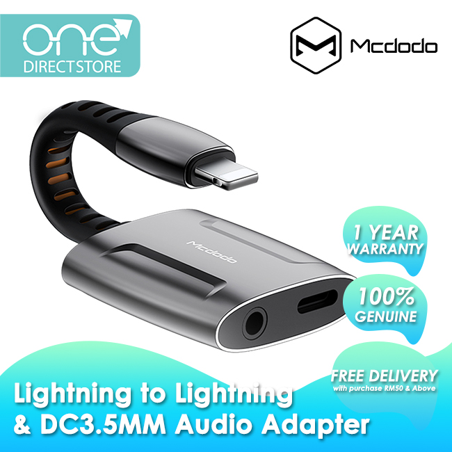 Mcdodo Lightning to Lightning and DC3.5mm Audio Adapter Cable (Support Call Function) CA634