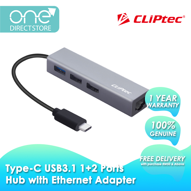 CLiPtec Type-C USB3.1 1+2 Ports Hub With Ethernet Adapter RZH630