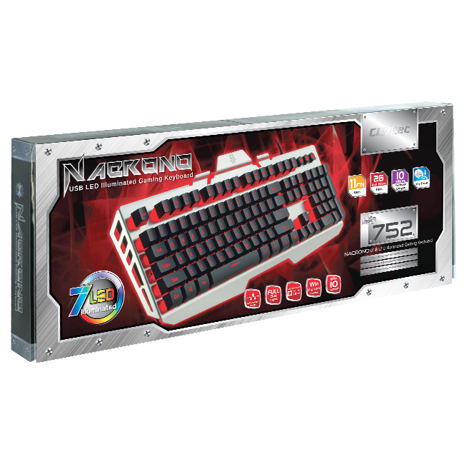 CLiPtec NACRONO USB LED Illuminated Gaming Keyboard-RGK752 (Silver)