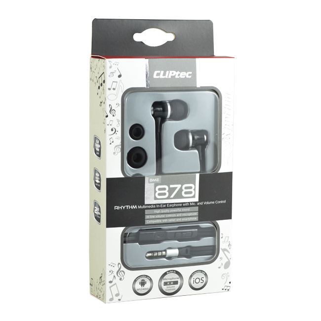 CLiPtec RHYTHM In-Ear Earphone with Microphone & Volume Control BME878