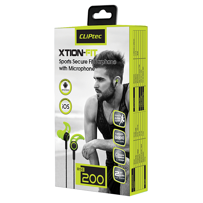 CLiPtec XTION-FIT Sports Secure Fit Earphone with Microphone BSE200