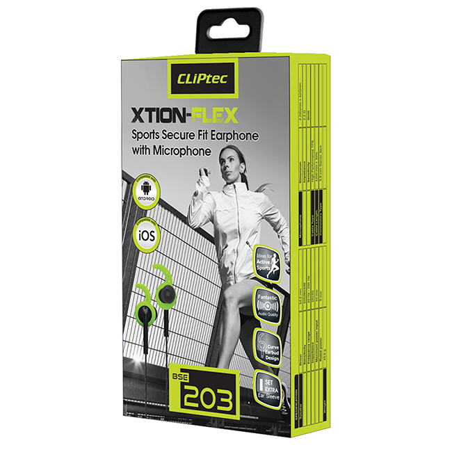 CLiPtec XTION-FLEX Sports Secure Fit Earphone with Microphone BSE203