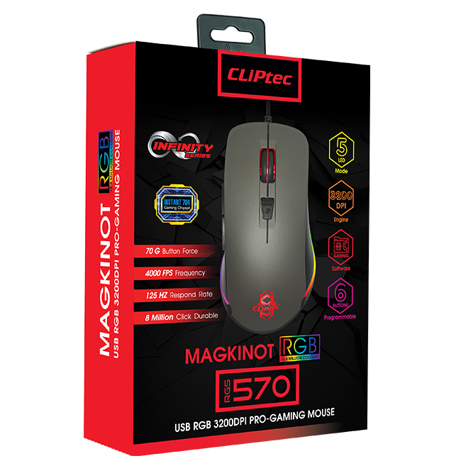 CLiPtec MAGKINOT USB RGB 3200dpi Pro-Gaming Mouse RGS570