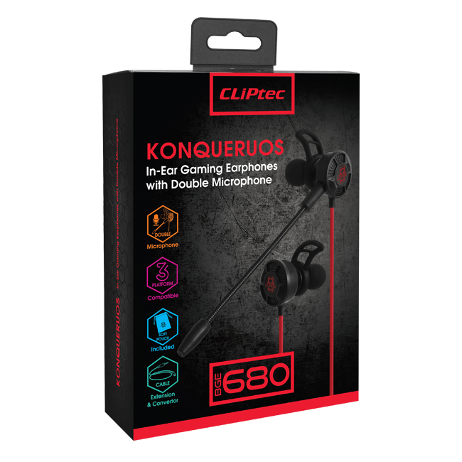 CLiPtec KONQUERUOS In-Ear Gaming Earphones with Double Microphone BGE680